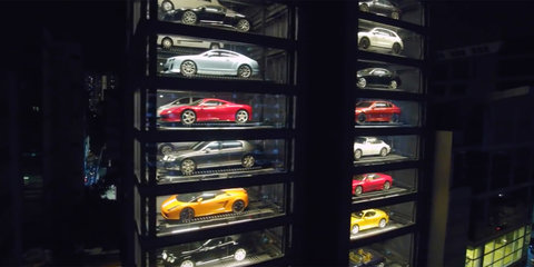 15 storey supercar vending machine opens in Singapore