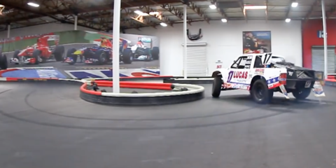 Off-road racing truck tackles go-kart track - VIDEO