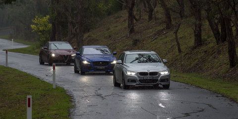 Alfa Romeo Giulia Veloce v BMW 330i M Sport v Jaguar XE 25t R-Sport comparison