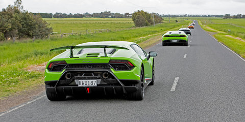 The sound of 36 Lamborghinis singing