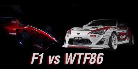 We're racing an F1 car against a Toyota 86 in a roll race at the Adelaide Motorsport Festival. Who will win?