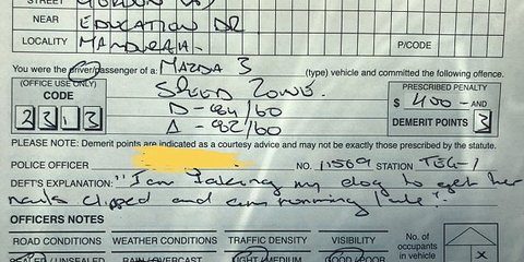 Speeding drivers' ridiculous excuse for doing 20kph over the limit