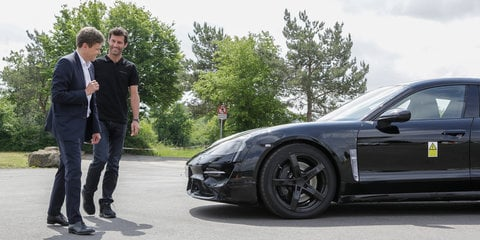 Mark Webber takes the Porsche Mission E for a spin - video