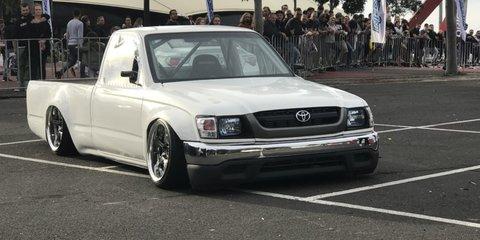 "A closer look Nigel Petrie's ""Engineered to slide"" 330kw SR20DET tube frame drift Toyota Hilux"