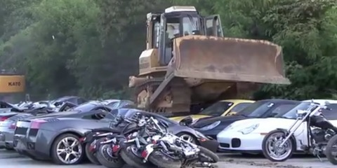 """$8 million dollars of luxury cars crushed in Philippines: the """"war against smuggling"""""""
