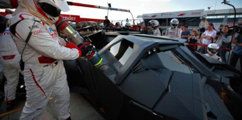 Batmobile races F1 car at Silverstone