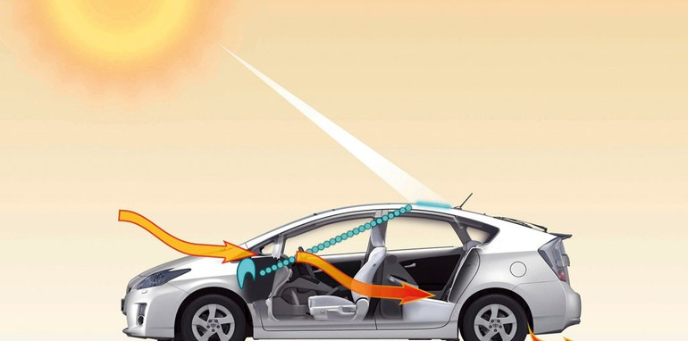 2009 Toyota Prius cooled by the sun