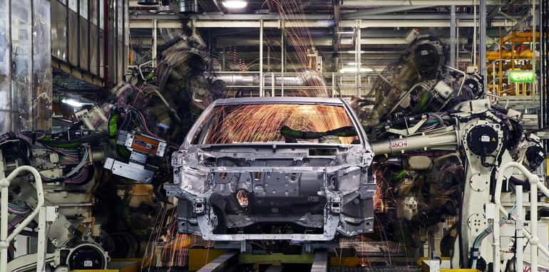 Body Shop welding of cars, Toyota Australia's Altona manufacturing plant