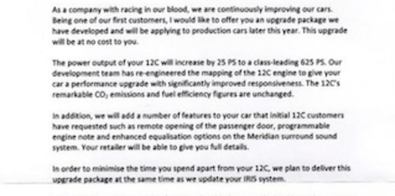 Mclaren Mp4 12c Free Power Upgrade Coming