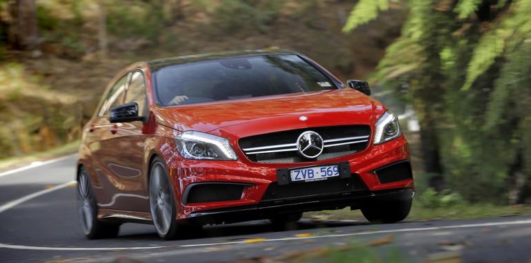 Mercedes-Benz A45 AMG forest cornering