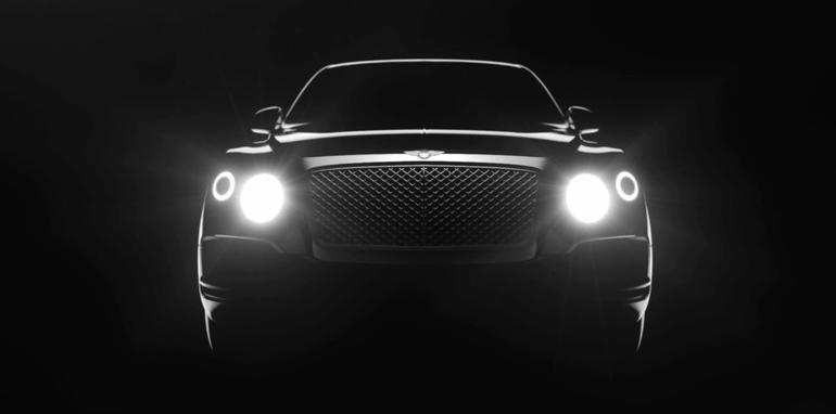 Bentley SUV headlights on