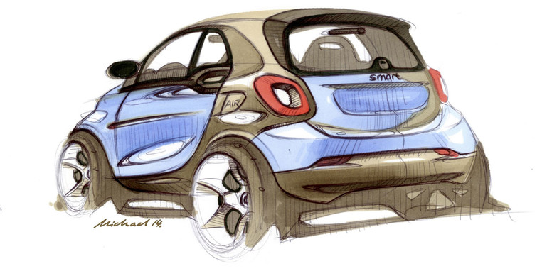 Smart ForTwo sketch of the rear