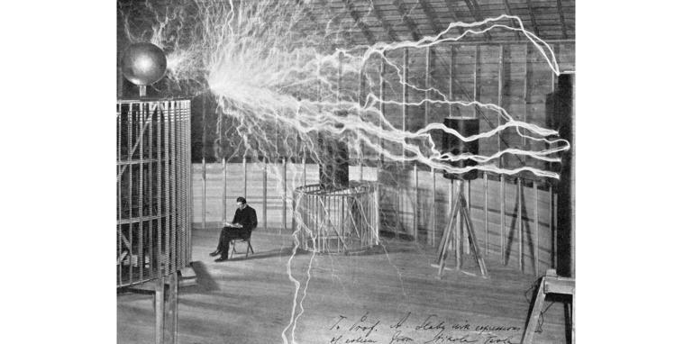 Generating artificial lightning in Nikola Tesla's laboratory.