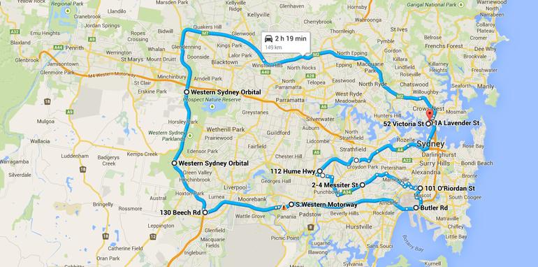 Sydney road trip map