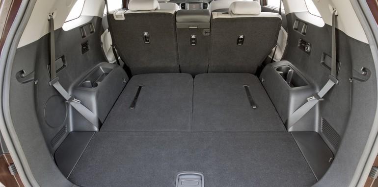 2015 Kia Sorento Platinum 2.2L Diesel interior rear view with 3rd row seats down.