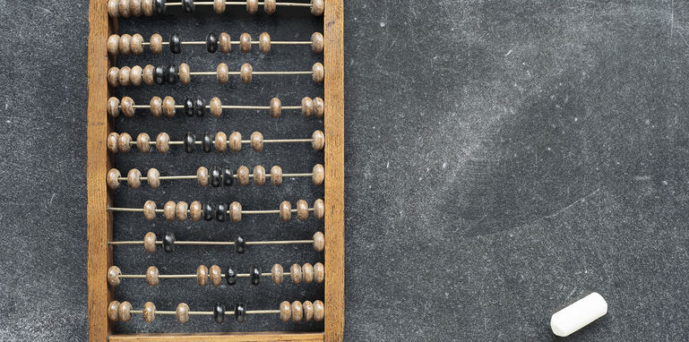 vintage abacus with chalk