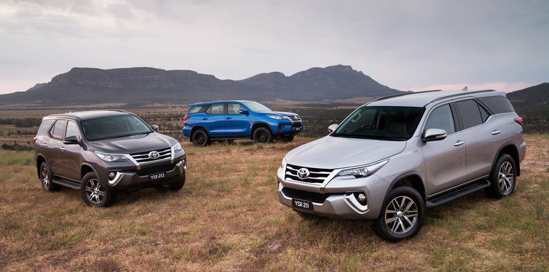 2015 Toyota Fortuner range: Crusade (right), GXL and GX (rear)