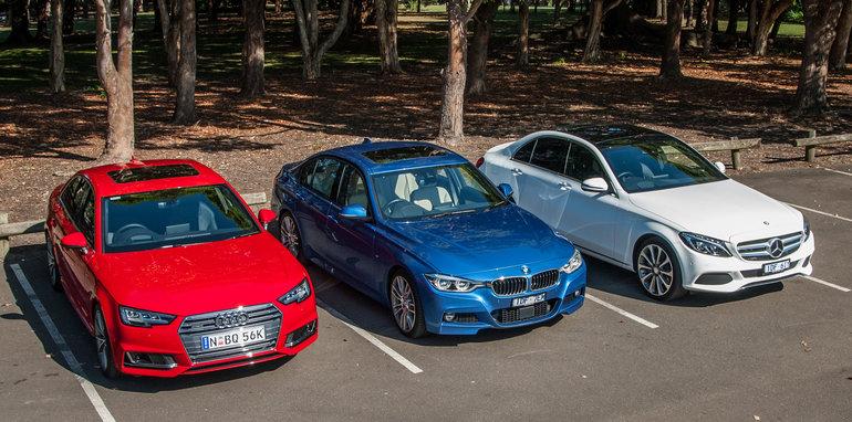 2016 Audi A4 2.0 TFSI quattro v 2016 BMW 330i v 2016 Mercedes-Benz C250-2