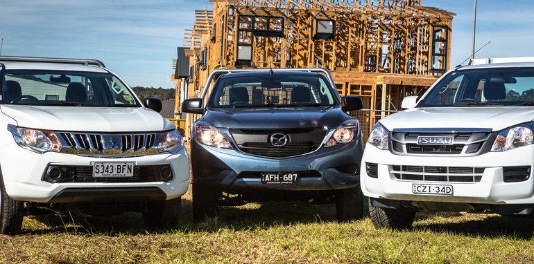 2016 Single-cab ute comparison Isuzu D-Max SX Mazda BT-50 XT Mitsubishi Triton GLX Nissan Navara DX Toyota HiLux Workmate-343