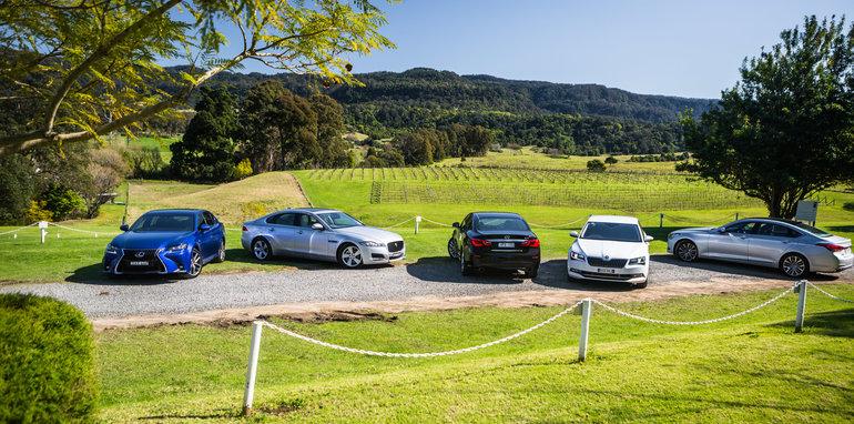 2016 Luxury sedan comparison Hyundai Genesis Ultimate v Jaguar XF 20d Prestige v Infiniti Q70 GT v Lexus GS200t F Sport v Skoda Superb sedan 206TSI-19