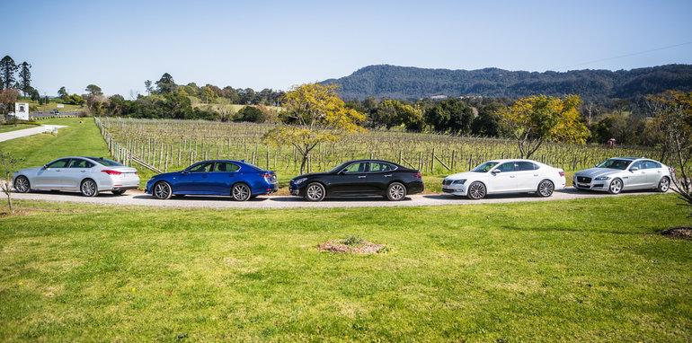 2016 Luxury sedan comparison Hyundai Genesis Ultimate v Jaguar XF 20d Prestige v Infiniti Q70 GT v Lexus GS200t F Sport v Skoda Superb sedan 206TSI-20