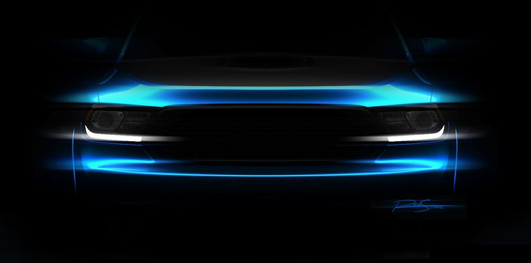 A sneak peek at the Mopar-customized Dodge Challenger, one of ma