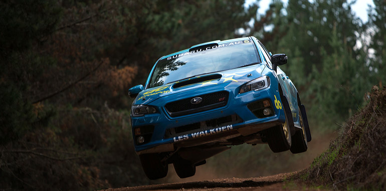 Subaru rally driver Molly Taylor and co-driver Bill Hayes in action during testing.