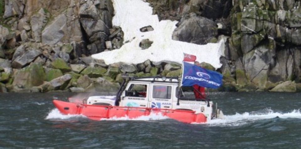 Land Rover Defender crosses the Bering Straits