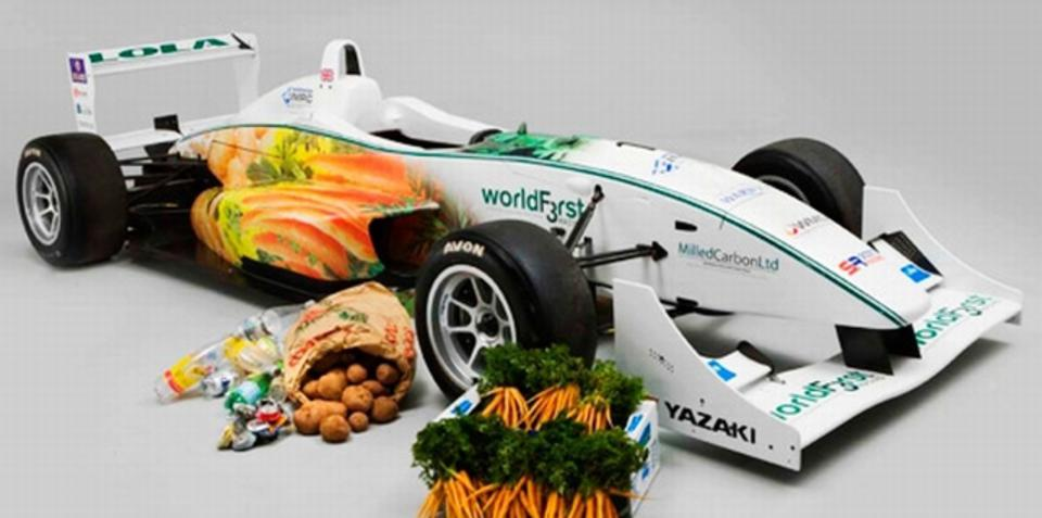 Chocolate powered Formula 3 race car hits the streets