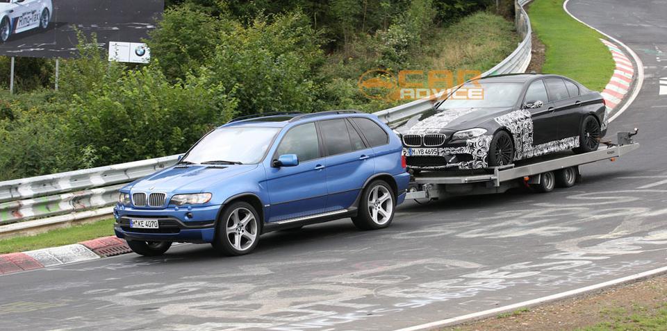 2011 BMW M5 towed off the Nurburgring