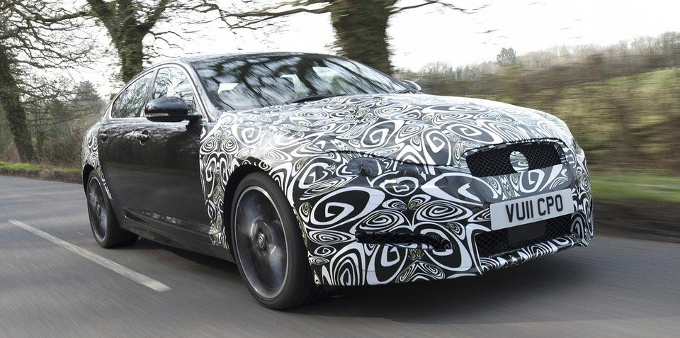 2012 Jaguar XF spy photos, new diesel engine at New York