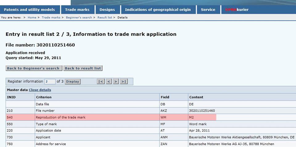 BMW files to trademark BMW M2 badge