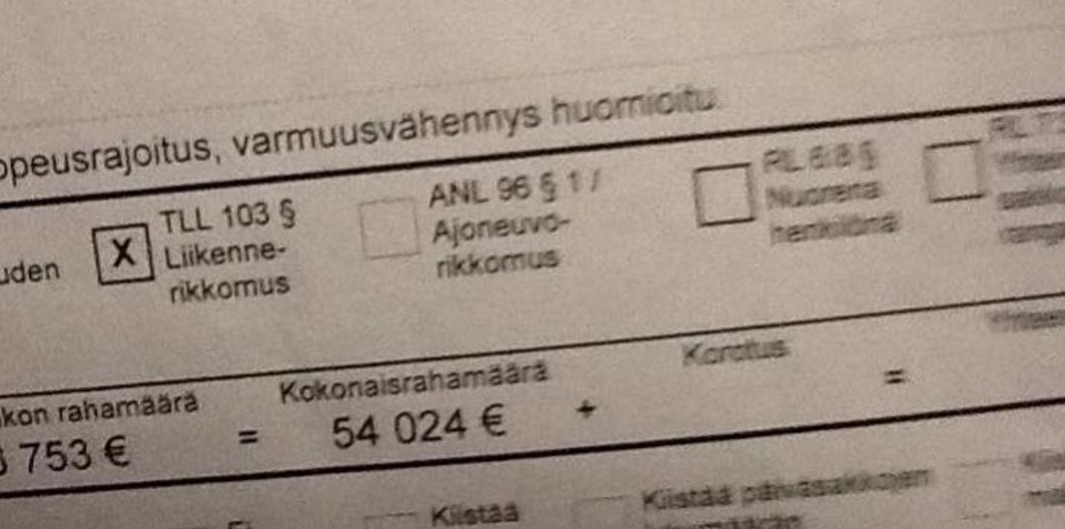 Finnish driver fined $76K for speeding