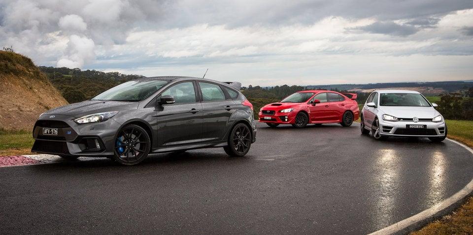 Ford Focus RS v Subaru WRX STI v Volkswagen Golf R Comparison: Track Test