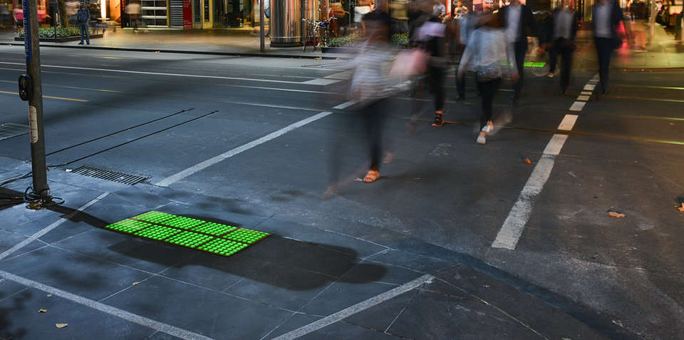 Melbourne's footpaths light up in the name of pedestrian safety