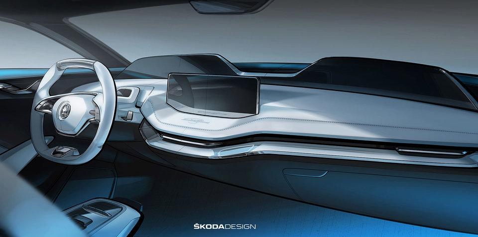 Skoda Vision E concept interior sketched out
