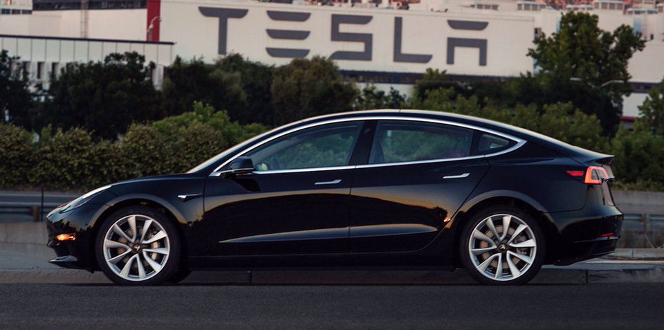 2017 Tesla Model 3 shown in production trim days after battery deal with SA goverment