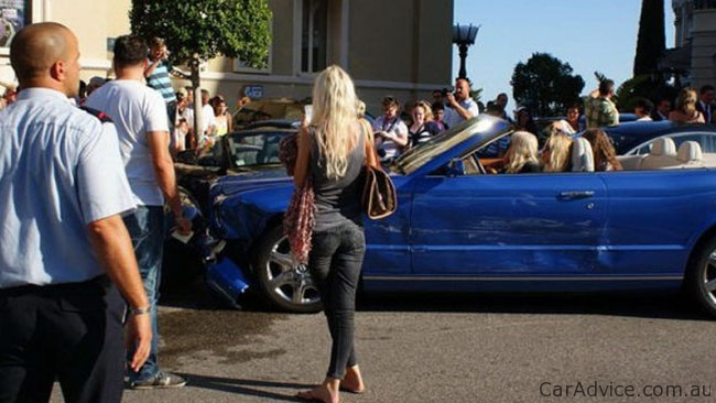Blonde Driving Bentley Crashes Into Ferrari Aston Martin