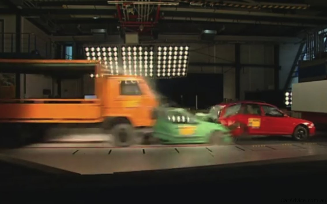 video adac multi car crash test asks  mandatory eba  trucks  caradvice