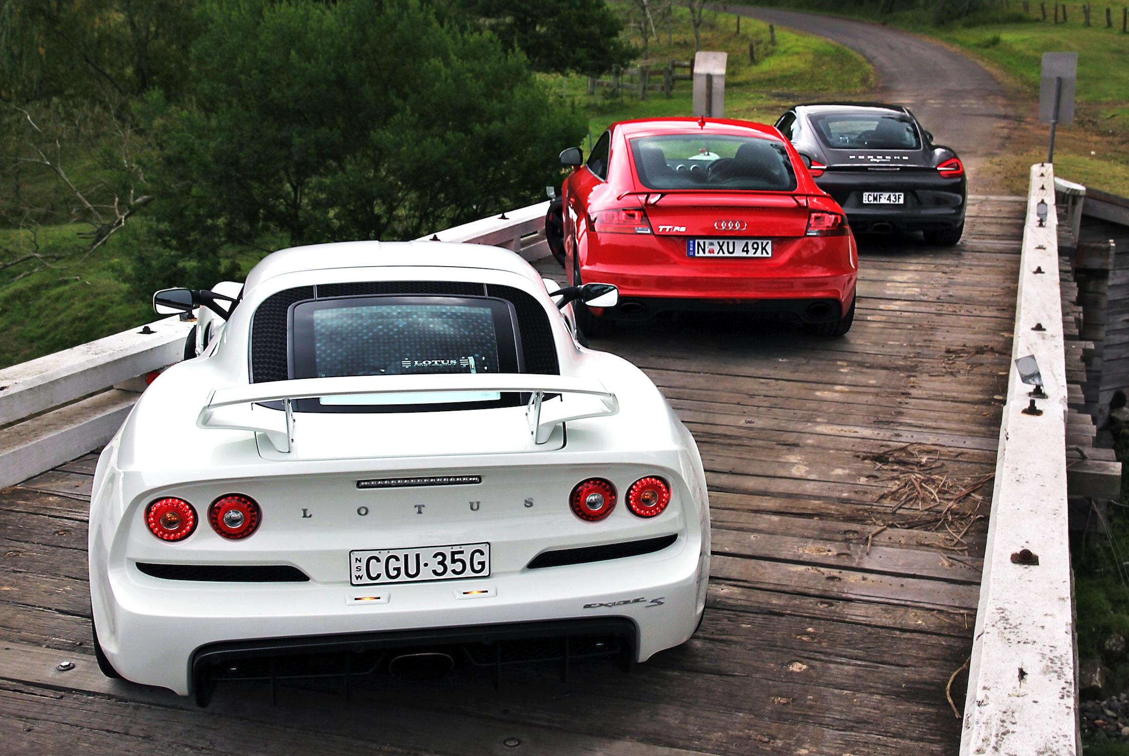 Sports Car Comparison Porsche Cayman V Audi TT RS V Lotus Exige S - Sports car comparison