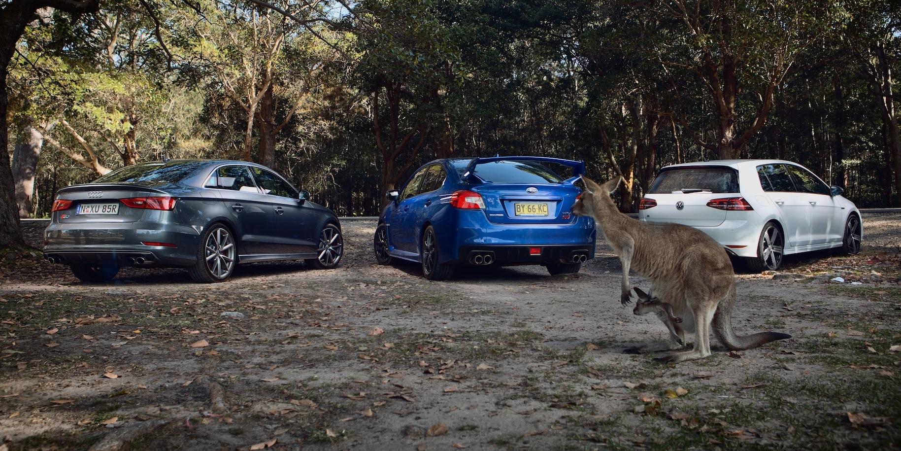 Sports Car Comparison Subaru WRX STI V Audi S V Volkswagen Golf - Sports car comparison