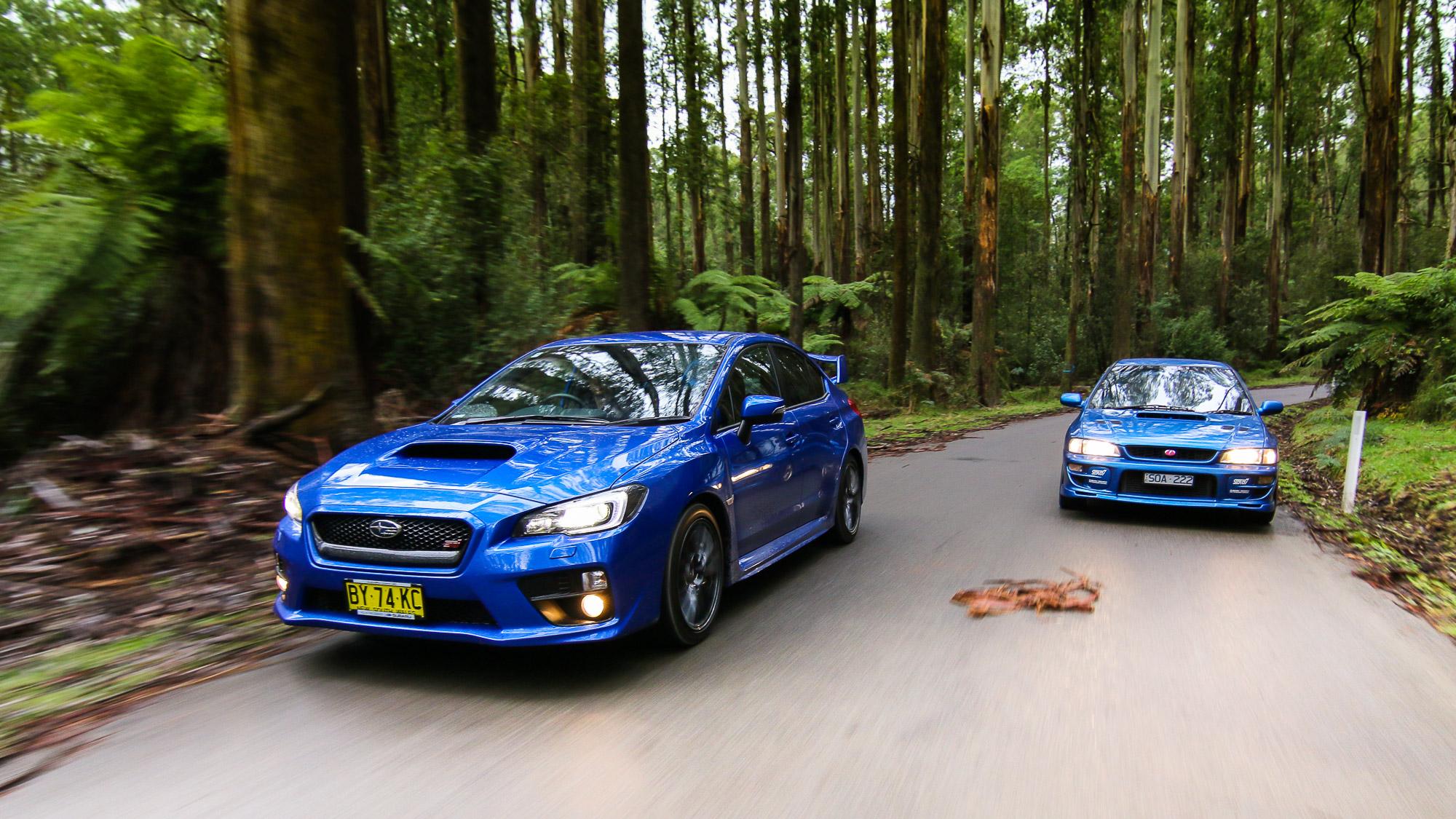 Subaru WRX STI Old v New parison 2015 sedan v 1999 two door