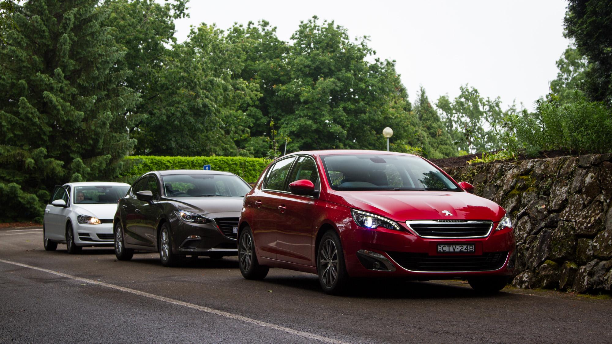 Small car comparison : Mazda 3 v Peugeot 308 v Volkswagen Golf - Photos