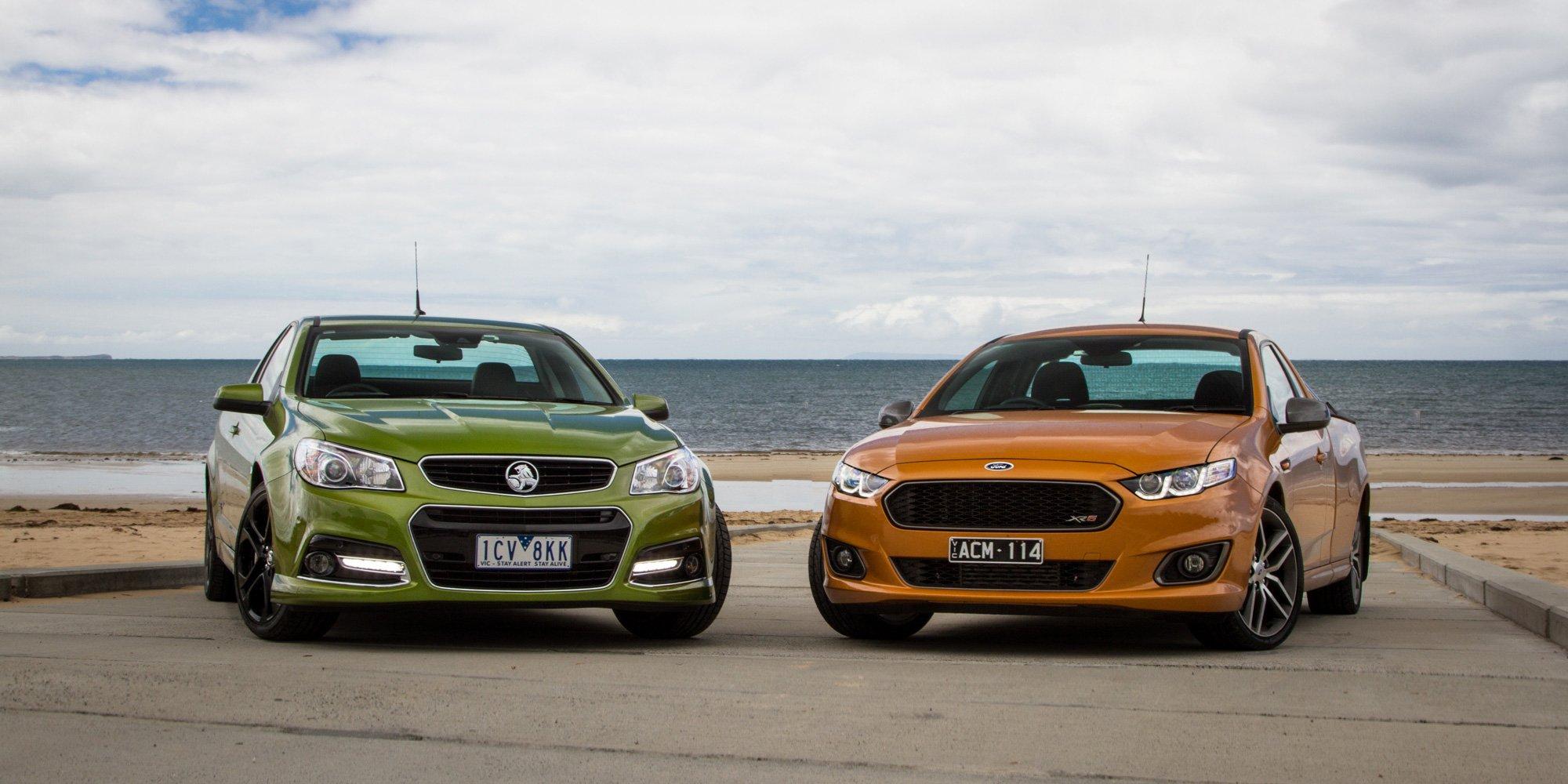 Ford falcon xr6 turbo ute v holden ute ss v redline for Holden motor cars australia