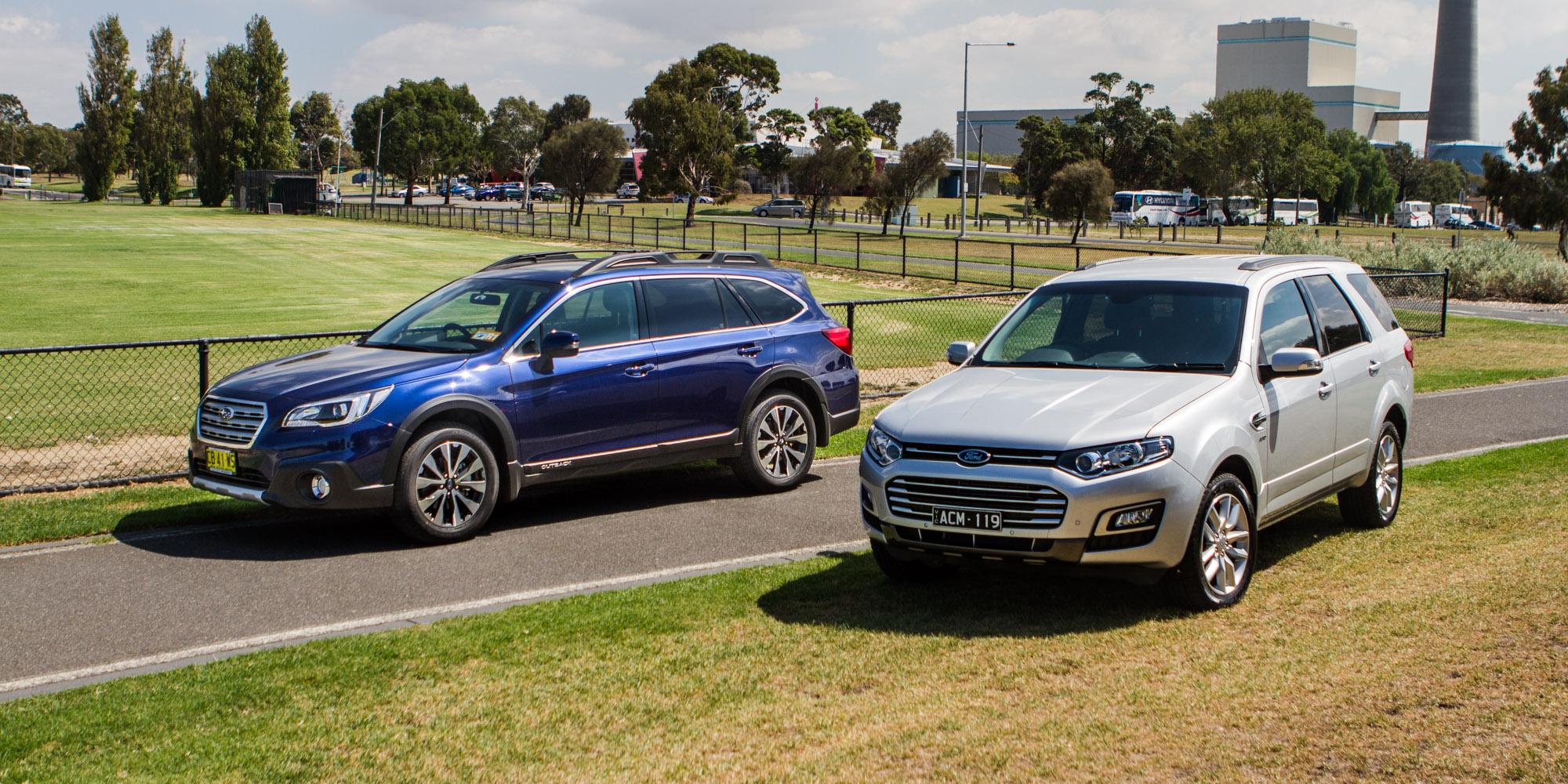 Ford Territory TS sel v Subaru Outback 2 0D Premium parison