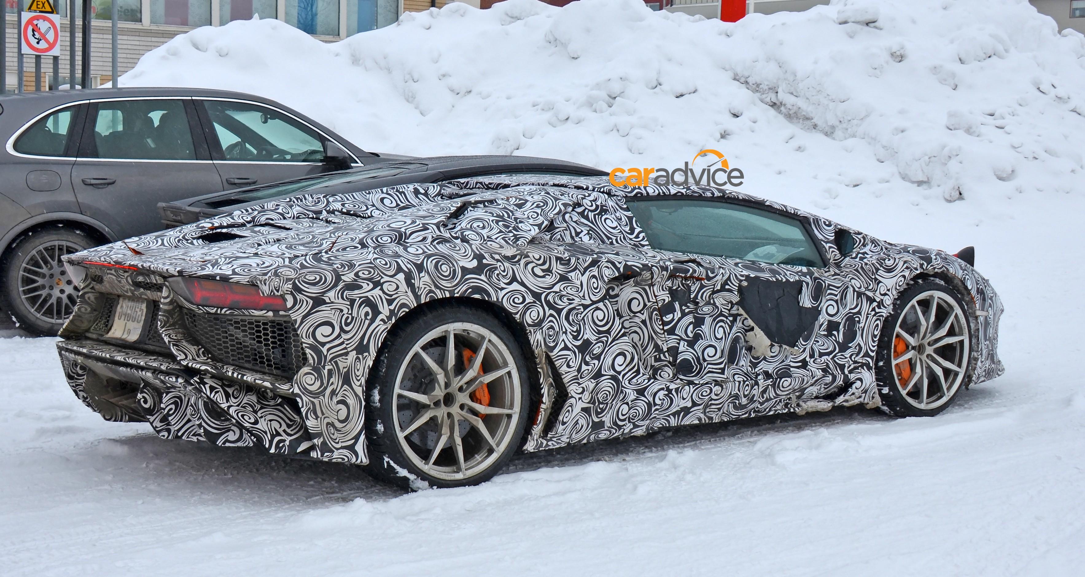 Lamborghini Aventador Sv Roadster Spotted Cold Weather